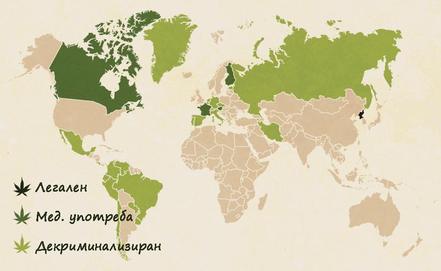 Къде канабисът е легален по света - инфографика